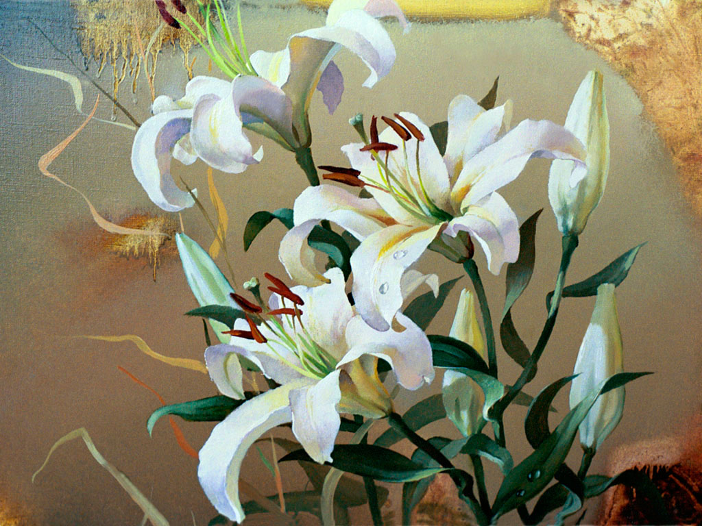 Цветы лилии холст масло art painting oil kanvas